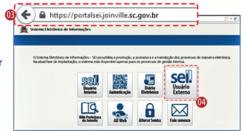Tela de entrada no Portal SEI