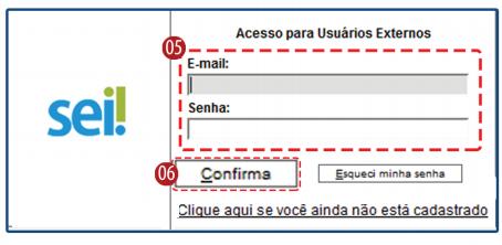 Campos de login para usuário externo
