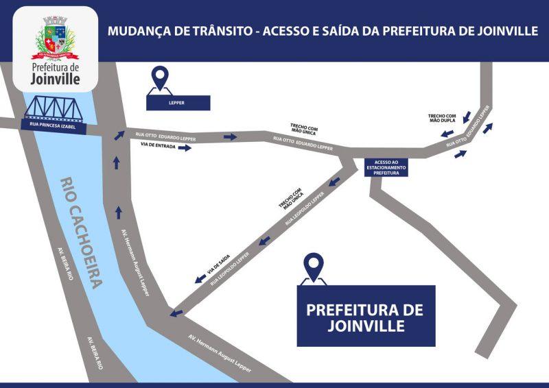 Imagem mostra mapa com setas que indicam sentido de entrada na Prefeitura de Joinville pela rua Otto Lepper e saída pela Rua Eduardo Lepper