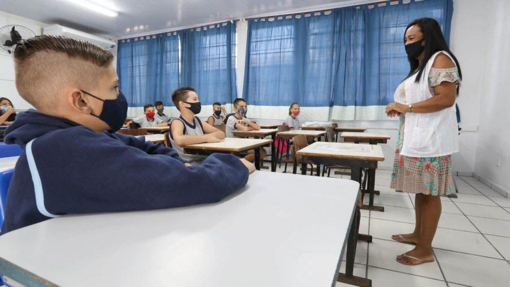 Sala de aula em escola de Joinville